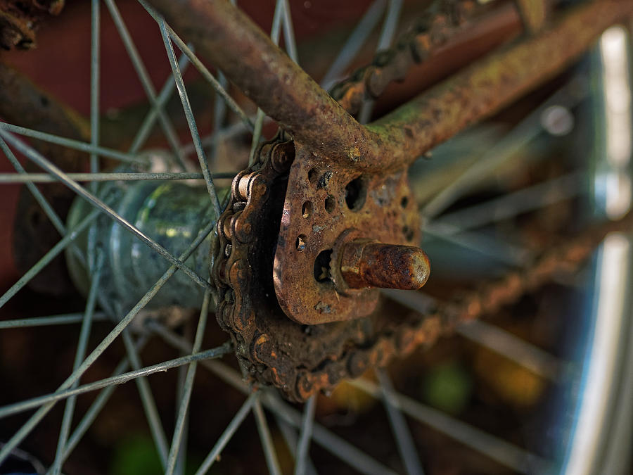 Bicycle Photograph - Vintage Bicycle Rear Wheel by Jussi Laasonen