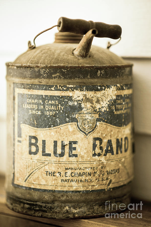 Vintage Blue Band Oil Can Photograph