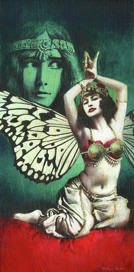 Vintage Butterfly Belly Dancer Painting