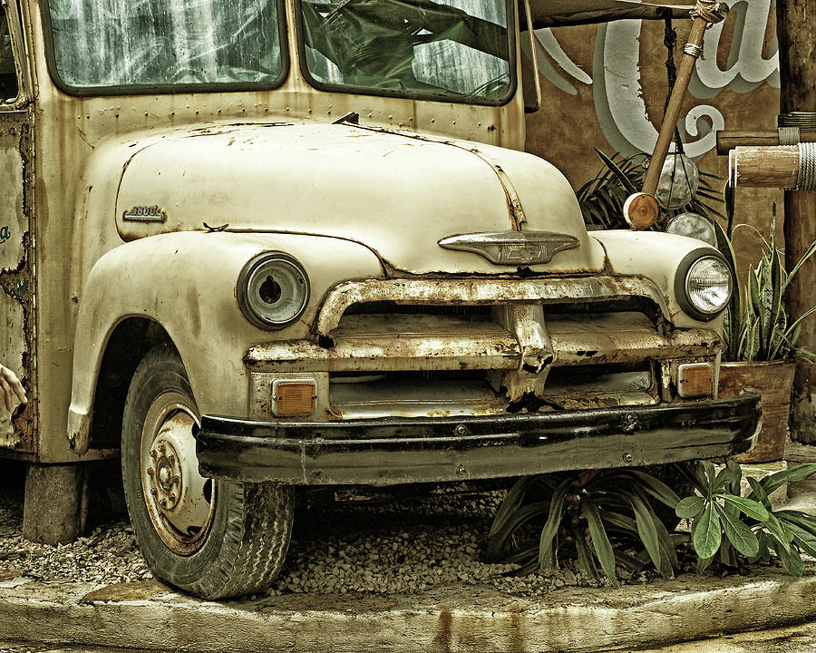 Vintage Chevy Truck in Costa Maya - Goldtone by Bill Swartwout Photography