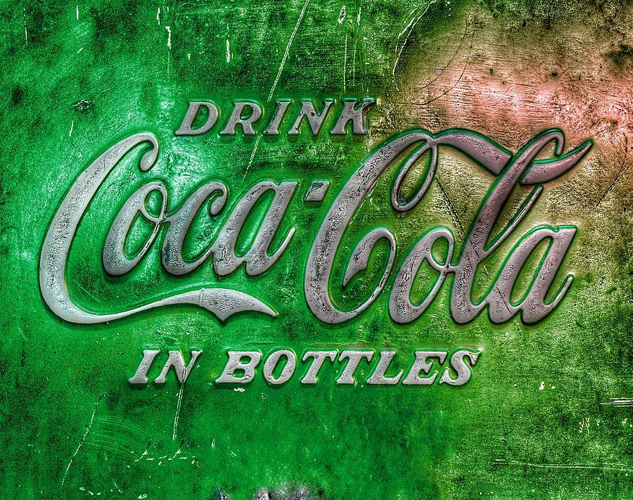 Vintage Coca Cola Vending Machine Signage - Green Photograph