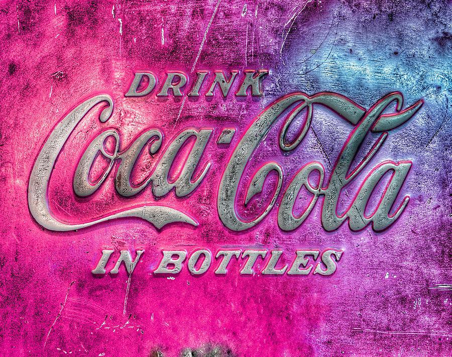 Vintage Photograph - Vintage Coca Cola Vending Machine Signage - Pink by Marianna Mills