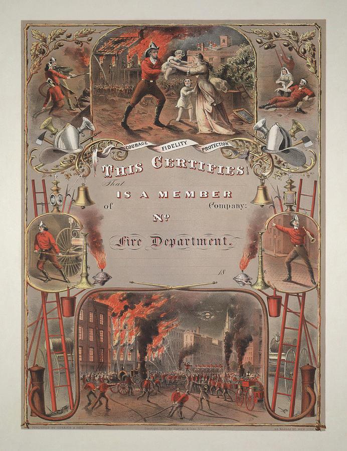 Vintage Fireman's Certificate - 1877 by War Is Hell Store