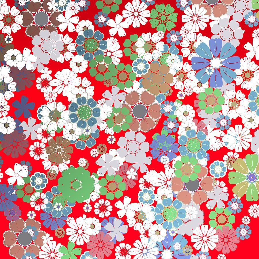 Vintage Flowers Over Red Background Digital Art
