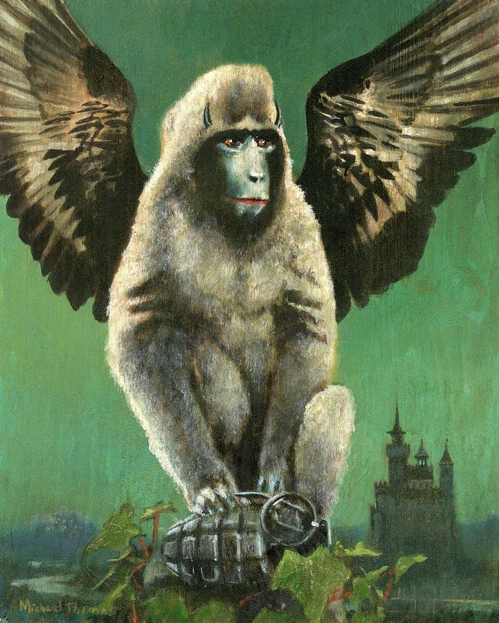 Vintage Flying Monkey Painting