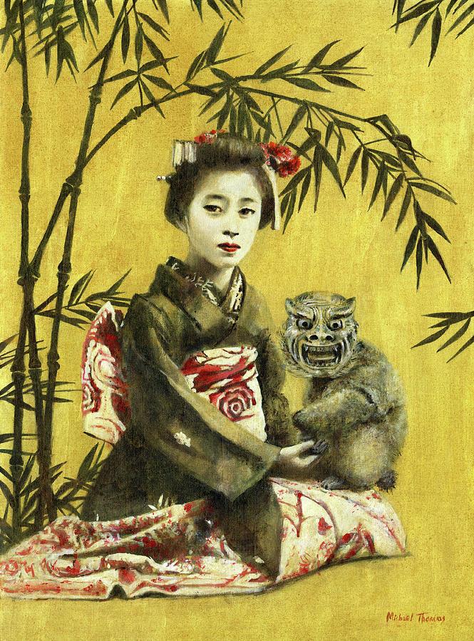 Vintage Geisha And Demon Painting