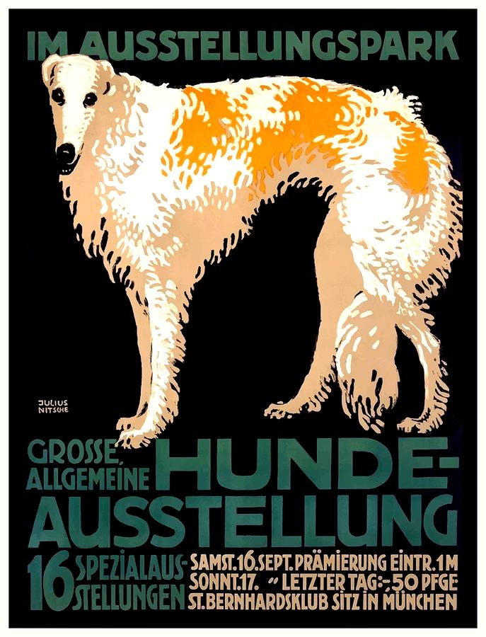 Wolfhound Digital Art - Vintage German Dog Show Advertising Poster by Retro Graphics