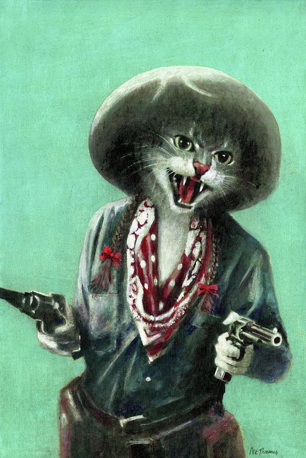 Vintage Kitten Cowgirl Painting