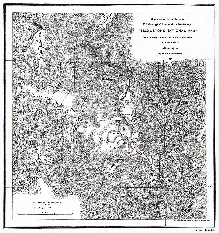 Vintage Map Of Yellowstone National Park - 1871 Drawing