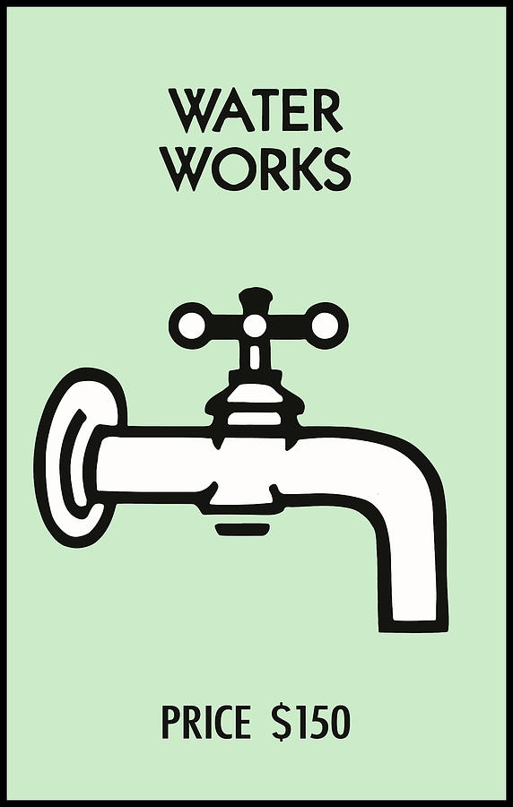 Vintage MONOPOLY Game WATER WORKS Digital Art by Daniel Hagerman