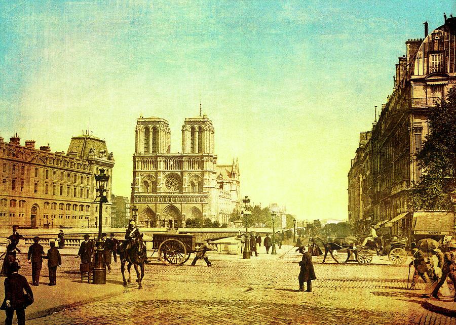 Notre Dame Digital Art - Vintage Notre Dame by Sarah Vernon