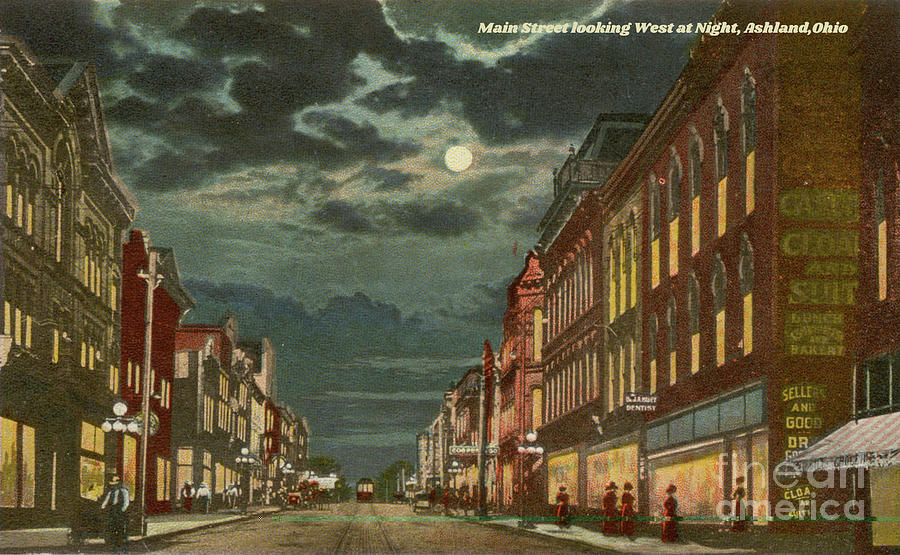 Vintage Postcard Of Ashland, Ohio At Night Photograph