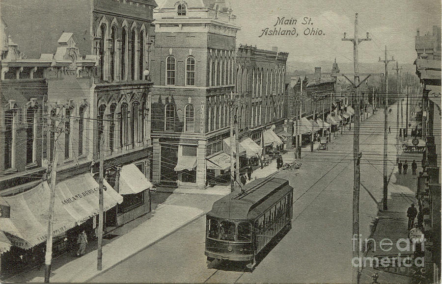 Vintage Postcard Of Ashland, Ohio With Trolley Painting