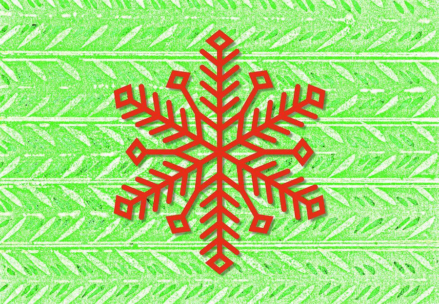 Vintage Retro Style Red Snowflake On Bright Green Digital Art