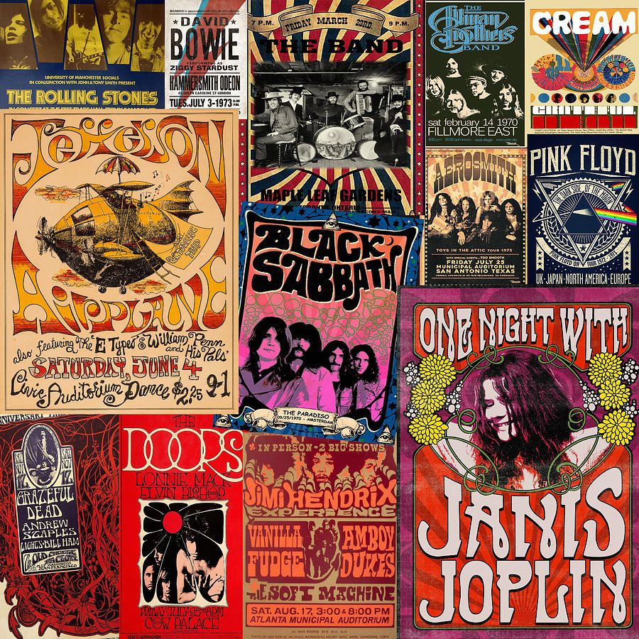 Vintage Rock Concert Posters 3 by Andrew Fare