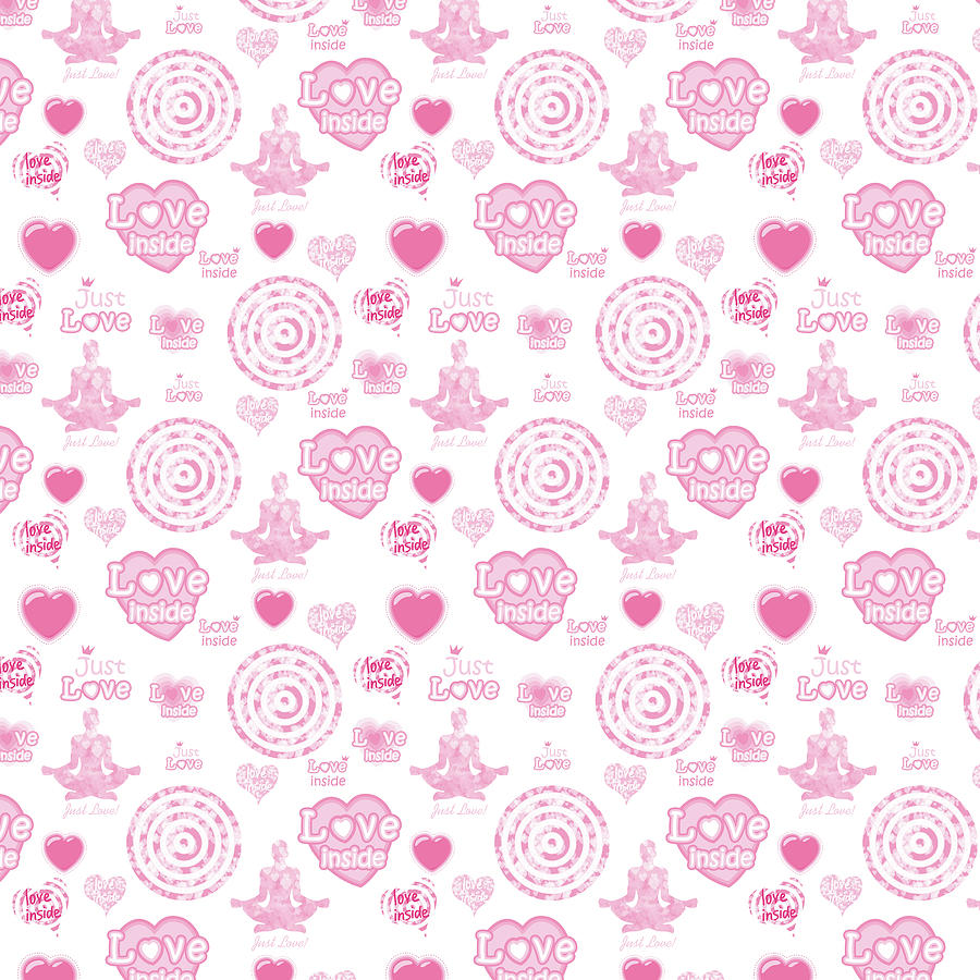 Happy Digital Art - Vintage set of pink  hearts and symbols for valentines day by Elena Sysoeva