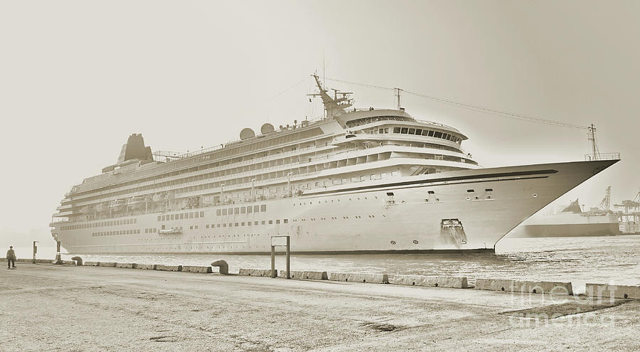 Vintage Style Cruise Ship in Port by Yali Shi