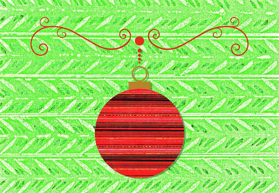 Vintage Style Red Art Ornament On Bright Green Digital Art