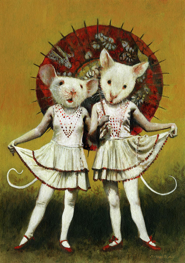 Vintage Theatrical Mice Painting