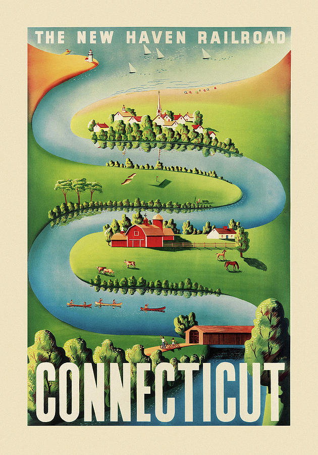 Vintage Travel Connecticut by Andrew Fare