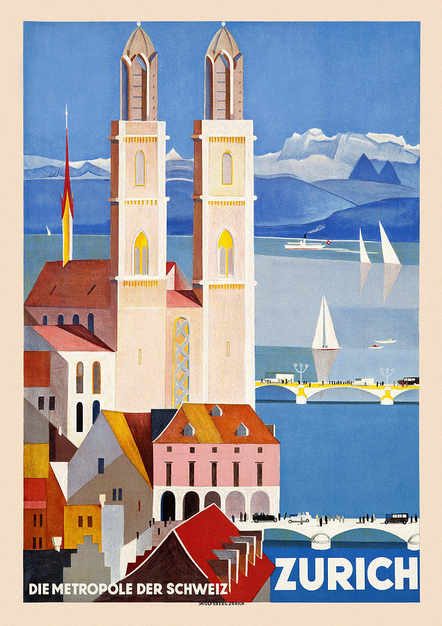Vintage Travel Zurich by Andrew Fare