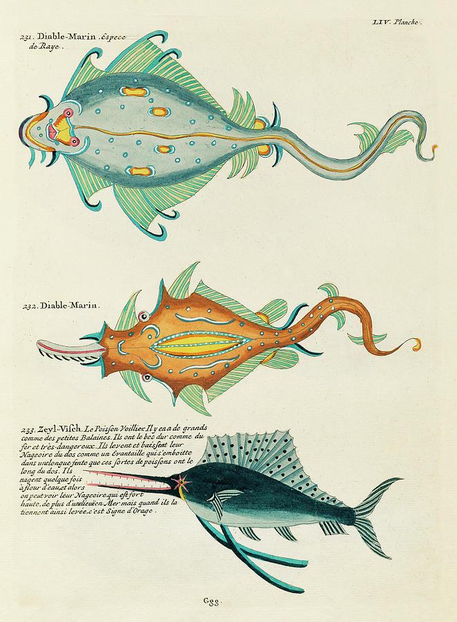 Vintage, Whimsical Fish And Marine Life Illustration By Louis Renard - Diable Marin, Sea Devil Digital Art