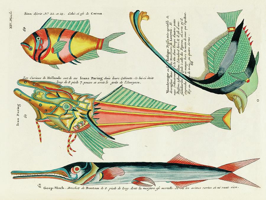 Vintage, Whimsical Fish And Marine Life Illustration By Louis Renard - Icans Paring, Vaandraager Digital Art