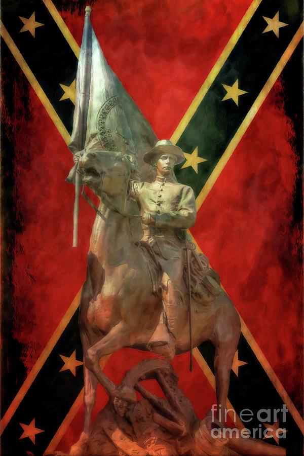 Virginia Monument Gettysburg Rebel Flag Digital Art