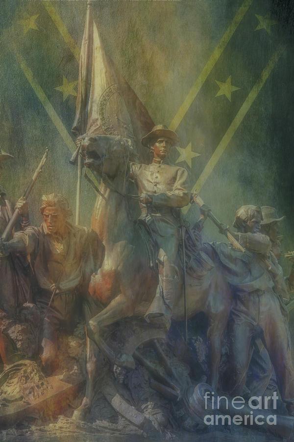 Battles Digital Art - Virginia Gettysburg Detail Rebel Flag   by Randy Steele