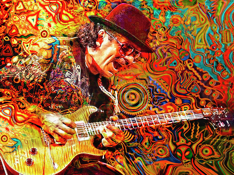 Carlos Santana Digital Art - Viva Santana by Mal Bray