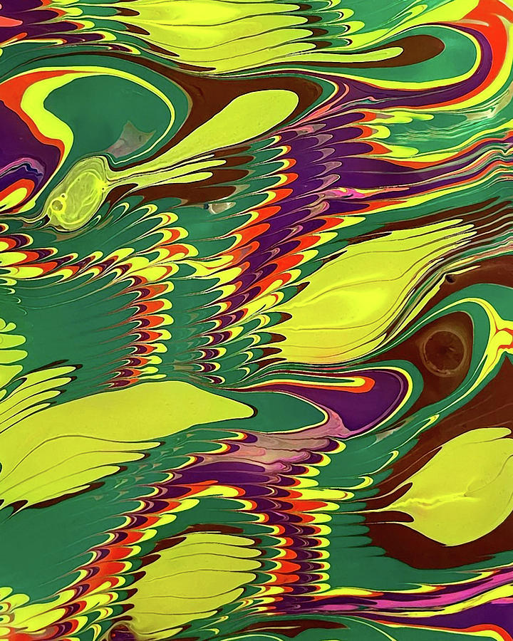 Vivid Bright Abstract Feathers And Wings Collection II Painting