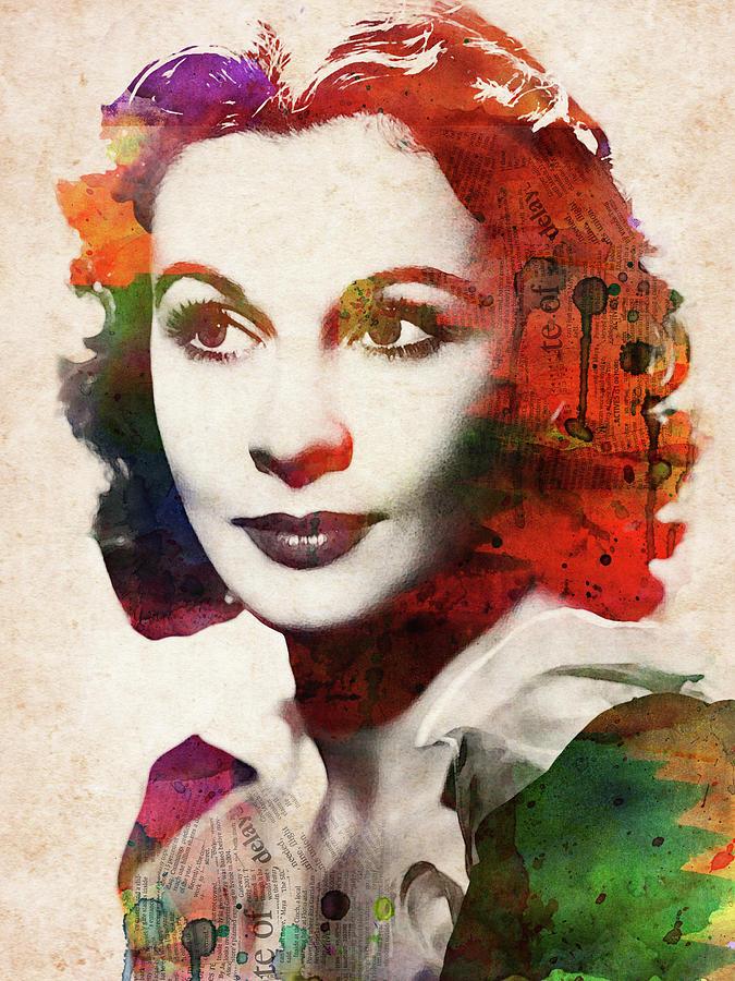 Vivien Leigh Colorful Watercolor Portrait Digital Art