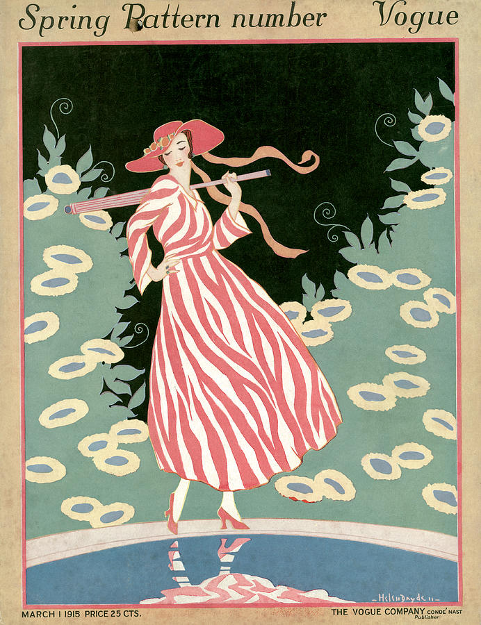 Vogue Cover Illustration Of A Woman Walking By A Pond Painting by Helen Dryden