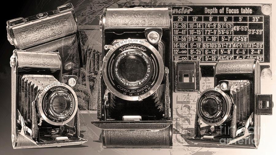 Film Digital Art - Voigtlander Bessa - Black And White by Anthony Ellis