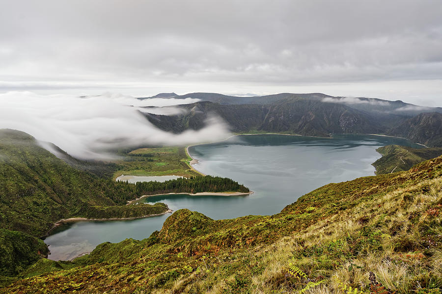 Volcano Photograph - Volcano crater with clouds by Ralf Lehmann