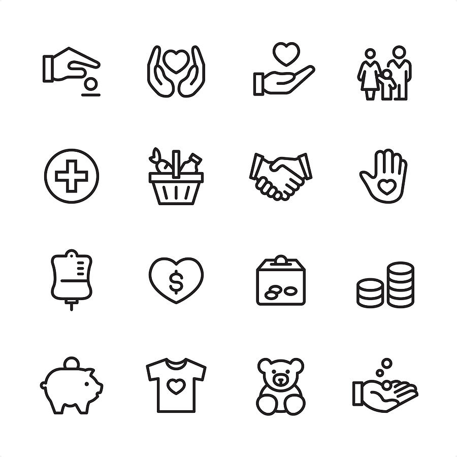Volunteer and Charity - outline icon set Drawing by Lushik