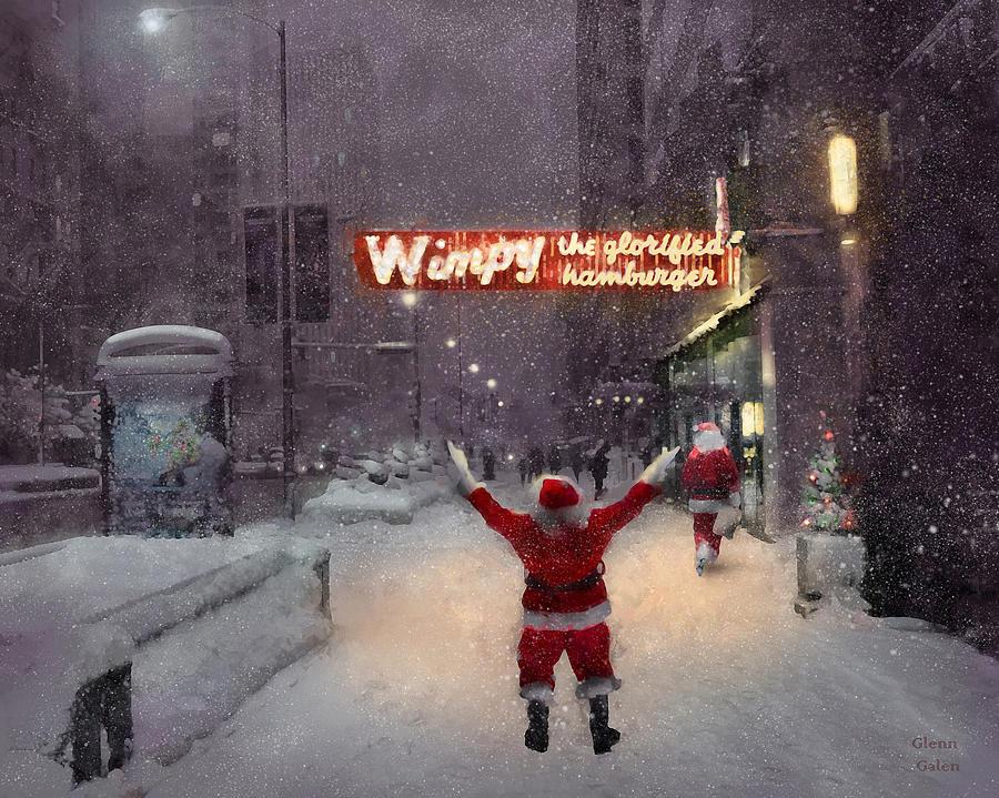 Chicago Loop Digital Art - Volunteer Santas in Chicago find a Wimpy Grill for dinner by Glenn Galen