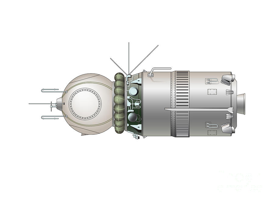Vostok - Last Rocket Stage With Capsula Drawing