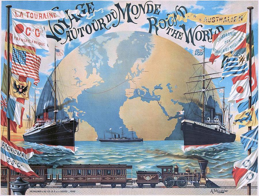 Art Nouveau Painting - Voyage Autour du Monde  Round the World 1891 Poster by Schindeler