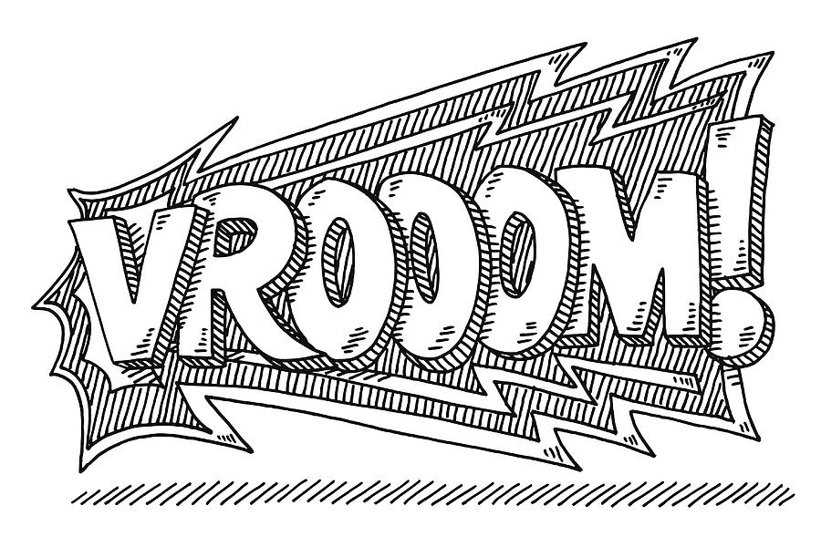 Vrooom! Comic Text Drawing Drawing by FrankRamspott