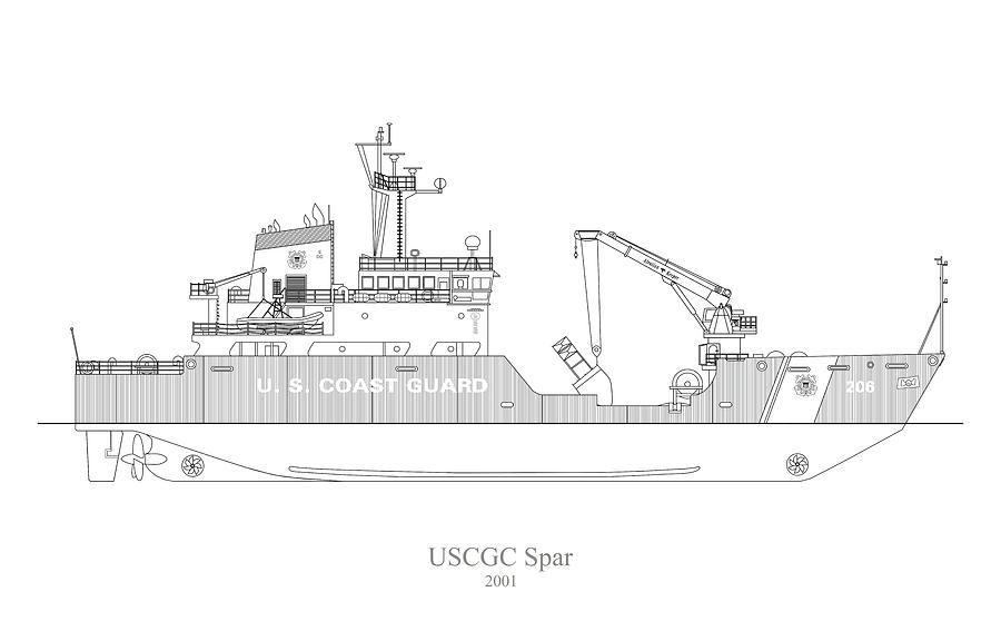 w02 - United States Coast Guard Cutter Spar wlb-206 by JESP Art and Decor