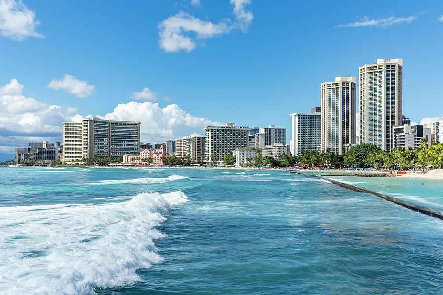 Waikiki Beach from Waikiki Wall by Kelley King