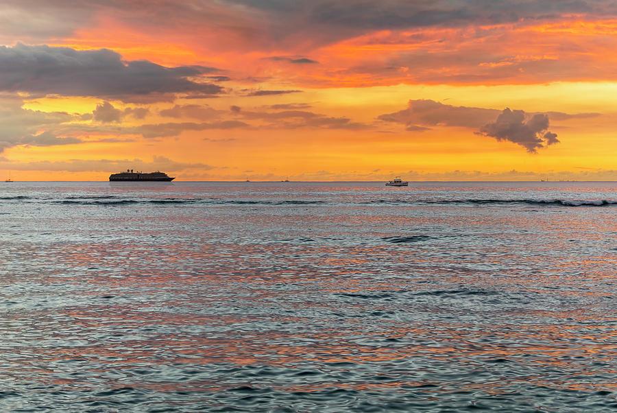 Waikiki Beach Sunset Glow by Kelley King