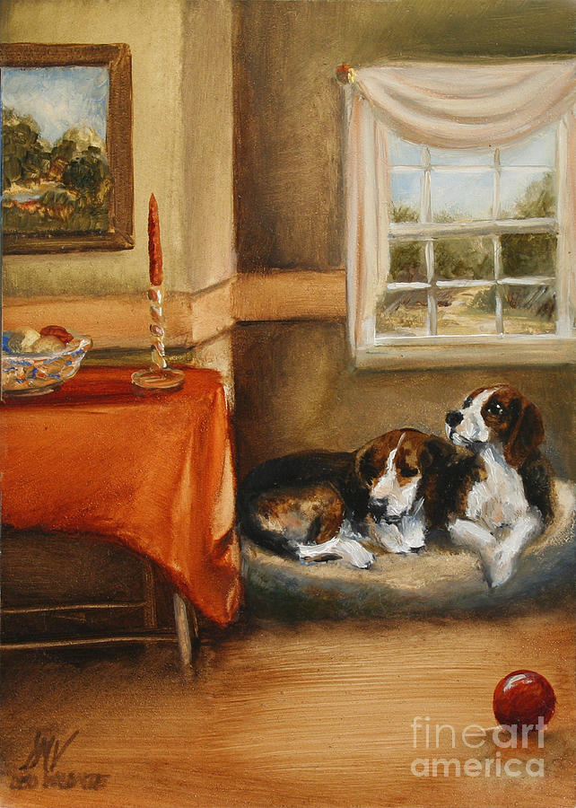 Beagle Painting - Waiting For The Mistress by Stella Violano