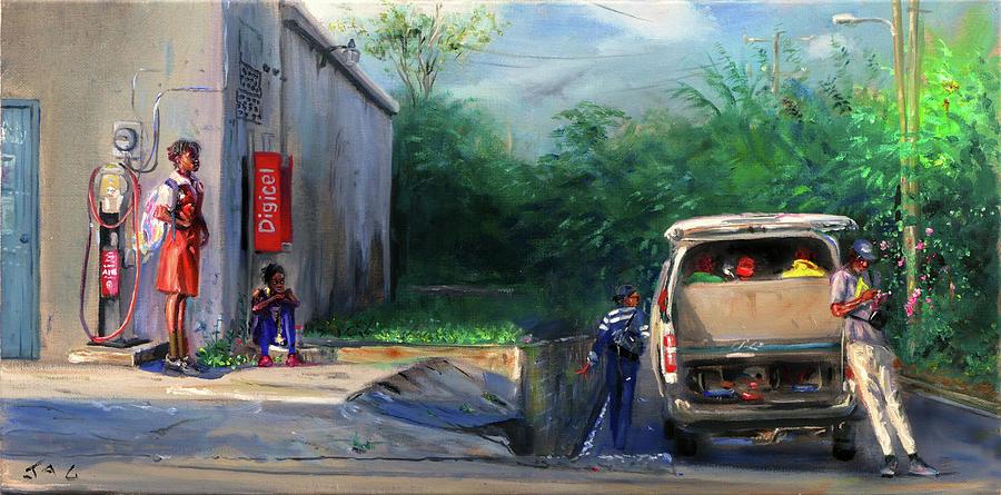 Bus Stop Painting - Waiting by Jonathan Guy-Gladding JAG