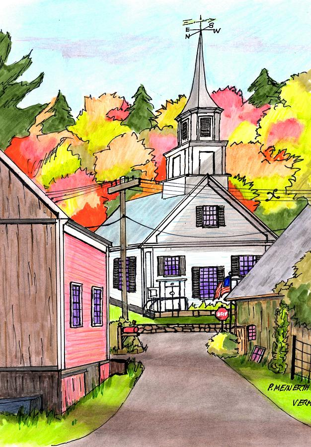 Waits River - Vermont Drawing
