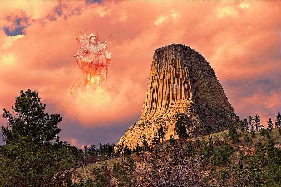 Devil's Tower Digital Art - Wakan Tanka - The Creator by Mike Braun