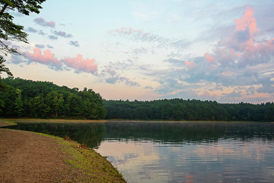 Walden Pond Summer Sunrise Concord MA Red Clouds by Toby McGuire