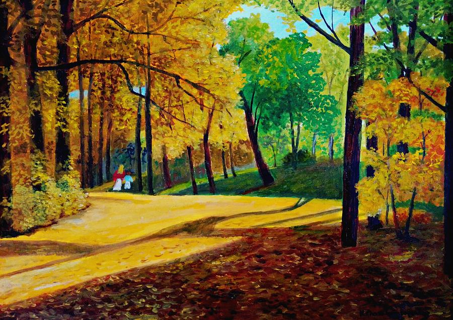 Walk In Autumn Forrest Painting