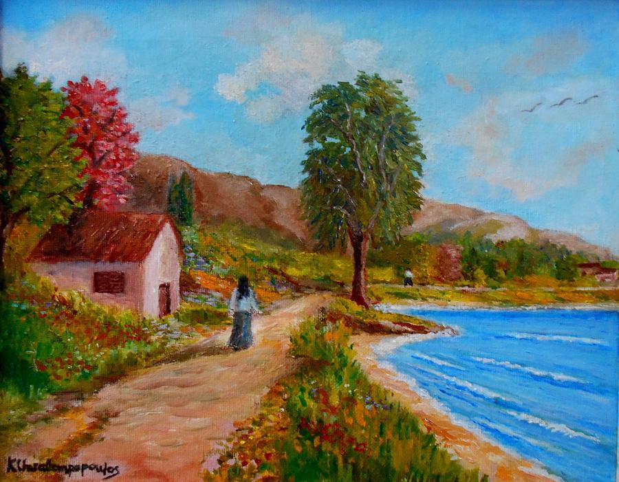 Walk  Beside The Sea Painting